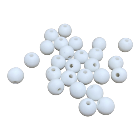 Akryylihelmi pyöreä 8 mm valkoinen matta 30kpl/pss