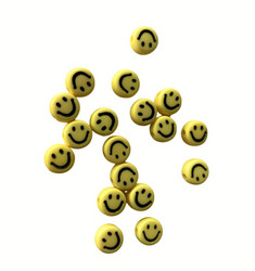 Akryylihelmi hymynaama keltainen 7 mm 3g (n. 20 kpl)