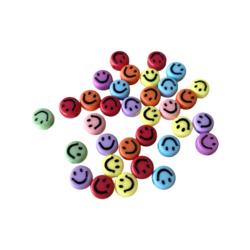 Akryylihelmi hymynaama värisekoitus 7 mm 3g (n. 20 kpl)
