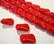 Tsekkiläinen lasihelmi opaakki punainen suorakaide 14,5 x 6,5 mm (4/pss)