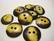 Luunappi keltainen / tumma pyöreä 25 mm