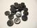 Sarvinappi luonnon musta kiillotettu pyöreä 12 mm
