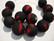 Akryylihelmi matta musta /punainen (rubberized) 14 mm (2/pss)