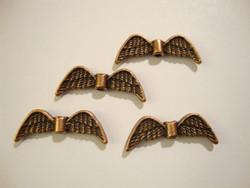 Metallihelmi Enkelin siivet antiikkikupari 7 x 21 mm (4 kpl/pss)