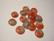 Vintage Givre-lasi rondelli korallin punainen / harmaa 3 x 8 mm (2 kpl/pss)