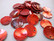 Simpukkahelmi/-linkki punainen pyöreä litteä 15 mm, 2 reikäinen (10/pss)