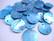Simpukkahelmi/-linkki sininen pyöreä litteä 15 mm, 2 reikäinen (10/pss)