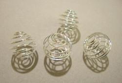 Metallispiraali (helmihäkki) hopeoitu 20 mm (4 kpl/pss)