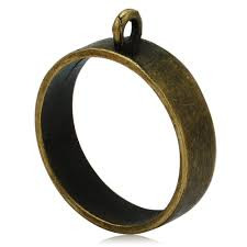 Riipus / kuvakehys avoin pyöreä pronssinvärinen 18 mm