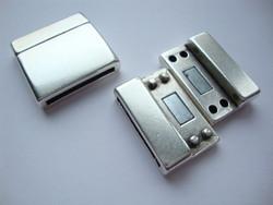 Nauhanpää / magneettilukko nauhoille, liimattava hopeoitu 25 x 25 mm, sisämitta 21 x 2,5 mm