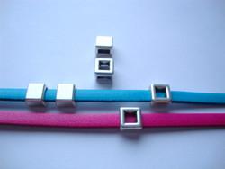 Metallihelmi/hela (slider) Käännettävä neliö 8 mm 5 mm nahkanauhalle