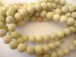 Kivihelmi Laavakivi keltainen pyöreä 8 mm (n. 48 kpl/nauha)