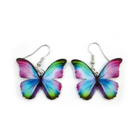 Värikäs perhonen-korvakorut