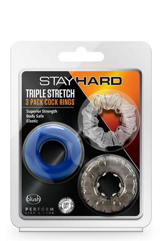 Stay Hard Triple Stretch - penisrenkaat 3 kpl