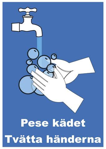 Pese kädet 2 suomi - ruotsi kyltti