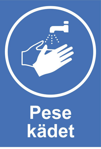 Pese kädet tarra.