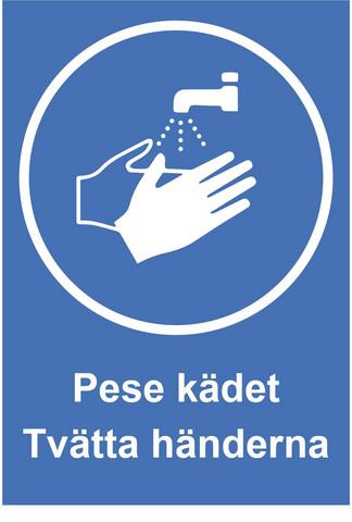 Pese kädet suomi - ruotsi tarra.