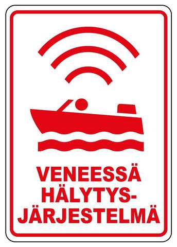 Veneessä hälytysjärjestelmä tarra