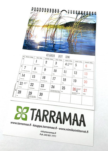 Kalenterit nimipäivillä, A4 koko, Wiresidonta kalenterikoukulla