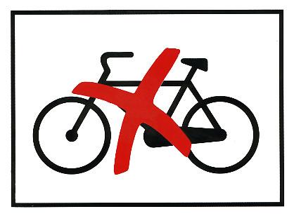 Polkupyöräkielto kyltti