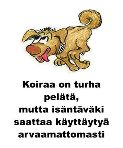Koiraa on turha pelätä kyltti