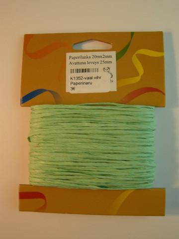 2mm Paperinaru: Vaaleanvihreä 20m