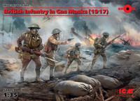 British Infantry in Gas Masks 1917 (4 Figures) 1/35