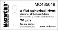 Flat spherical rivet, diameter 1.2mm