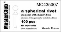 spherical rivet, diameter of the head 1mm