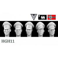 5 Heads German Officers Formal Peak Caps 1/35