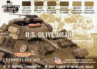 U.S. Olive Drab set WW II and Post war colors (6 colors)