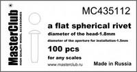 Flat spherical rivet, diameter 1.8mm-