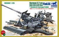 3.7cm FlaK 36 German Anti-Aircraft Gun with Sd.Anh.52 Carriage Trailer 1/35