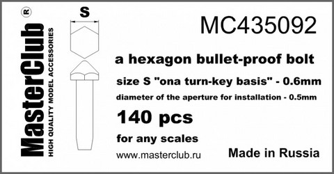 "A bullet-Proof Hexagon head bolt, Size S ""on A Turn-Key basis"" - 0.6mm"