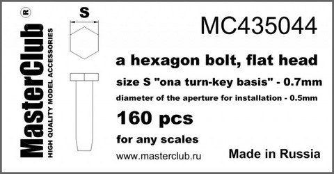 "A Hexagon flat bolt head, Size S ""on A Turn-Key basis""-0.7mm"
