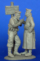 German soldiers winter vignette WWI (contains 2 figures + post) 1/35