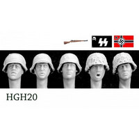 5 Heads German Helmets with Improvised Covers 1/35