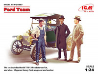 Ford Team (Model T 1913 Roadster & 3 Figures) 1/24
