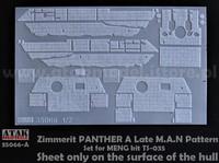 Zimmerit Panther A M.A.N Pattern #2 Vain rungon osat! (Meng) 1/35