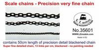 Scale Chain Musta metalliketju (13 lenkkiä /cm, pituus 50cm)