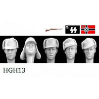 5 Heads German Cold Weather Caps Visors/Peaks 1/35