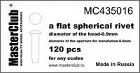 Flat spherical rivet, diameter 0.9mm-