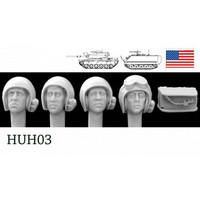 5 Heads US AFV Helmet mics 1960s 1/35