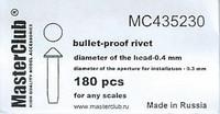 Polish Cone-head Bullet proof Bolt 0.9mm 150 pcs