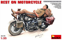Rest on Motorcycle. Despatch Rider Laying on Harley Davidson 1/35