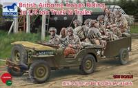 British Airborne Troops Riding in 1/4 ton Truck & Trailer