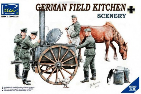 German Field Kitchen with 4 Figures & Food Containers 1/35