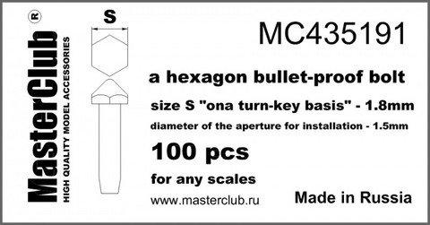 "A bullet-Proof Hexagon head bolt, Size S ""on A Turn-Key basis"" - 1.8mm"