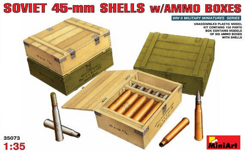 Soviet 45-mm shells with ammo boxes 1/35