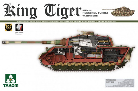 King Tiger Henschel with Zimmerit and Interior 1/35
